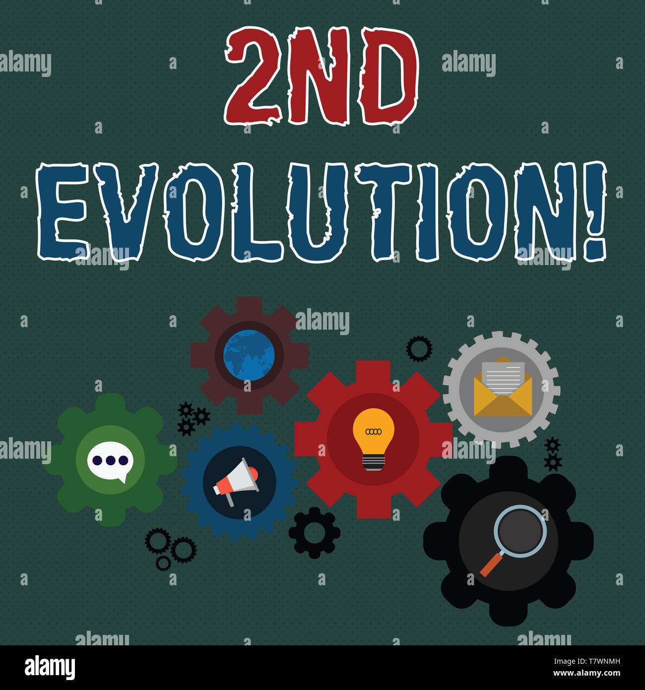 Writing note showing 2Nd Evolution. Business concept for change in the heritable features of biological populations Set of Global Online Social Networ - Stock Image