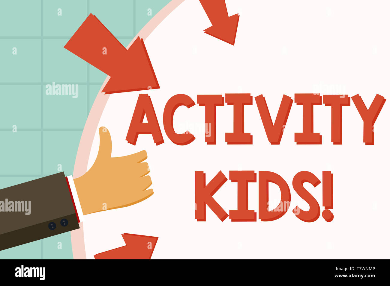Text sign showing Activity Kids. Business photo showcasing form of organized supervised often extracurricular recreation Hand Gesturing Thumbs Up and  - Stock Image