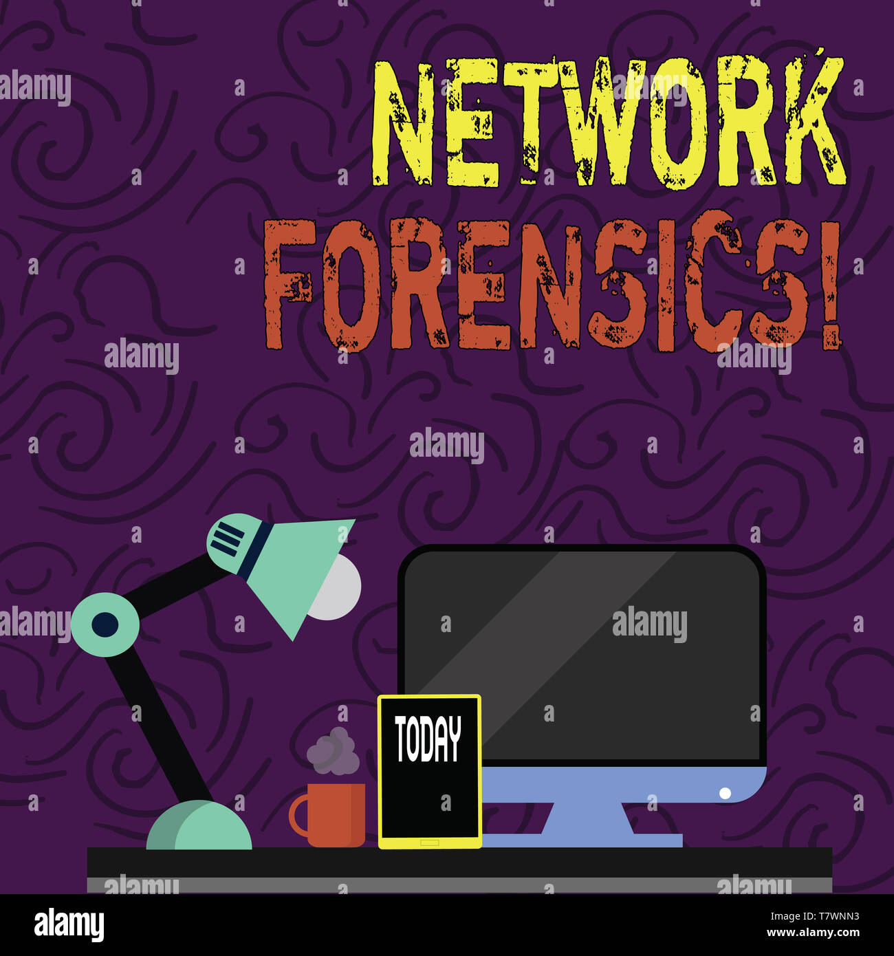 Text sign showing Network Forensics. Business photo showcasing monitoring and analysis of computer network traffic Arrangement of Workspace for Nights - Stock Image