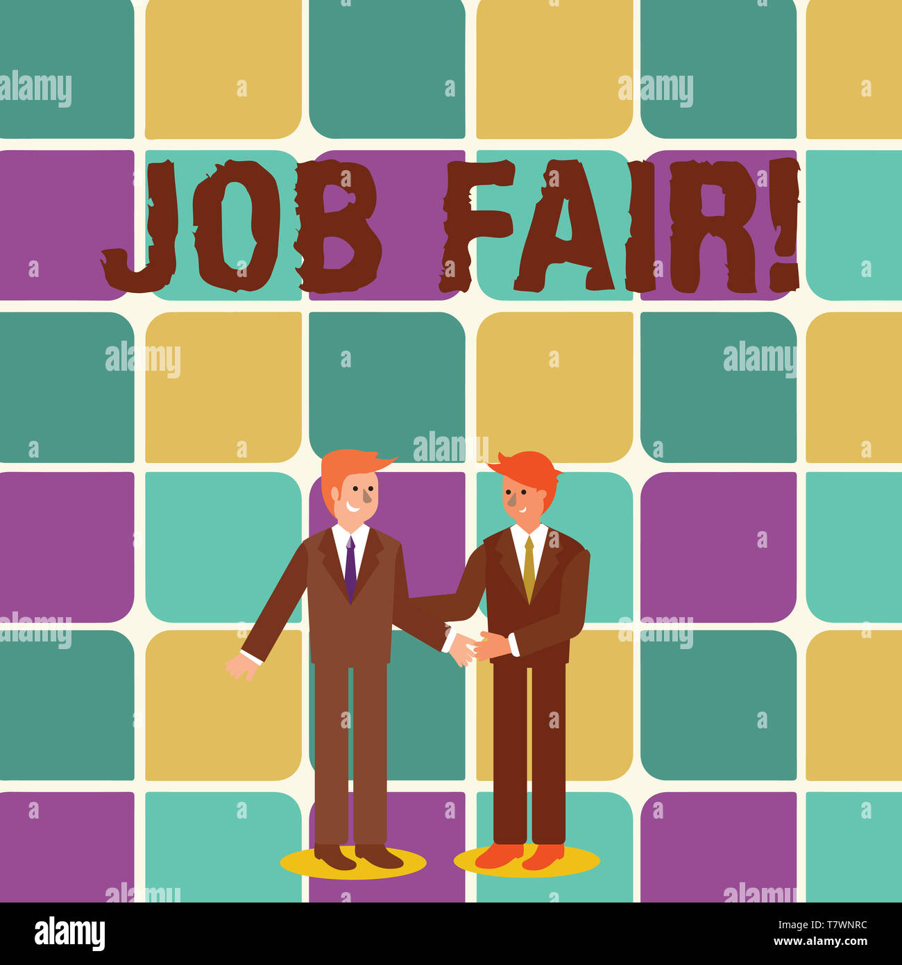 Text sign showing Job Fair. Business photo showcasing event in which employers recruiters give information to employees Two Businessmen Standing, Smil - Stock Image
