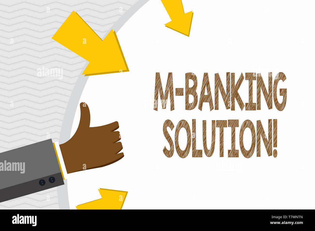 Conceptual hand writing showing M Banking Solution. Concept meaning accessed banking through an application on the smartphone Hand Gesturing Thumbs Up - Stock Image