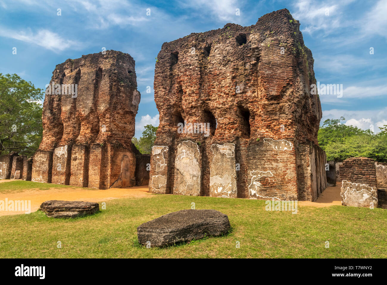 The impressive remains of the Royal Palace at Polonnaruwa in the North Central Province of Sri Lanka. Stock Photo