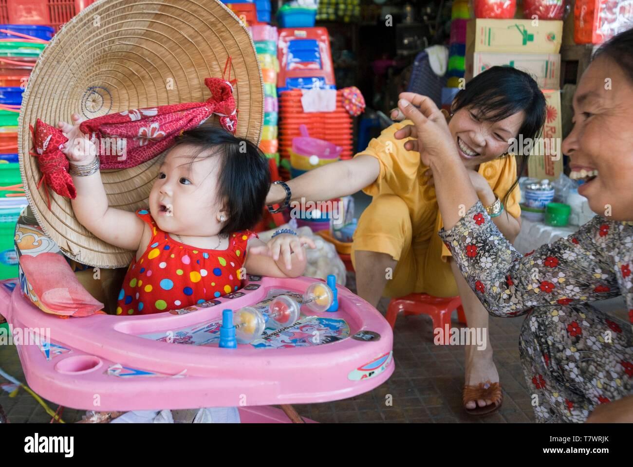 Vietnam, Dong Thap Province, Mekong Delta Region, Sa Dec, Sa Dec Market - Stock Image