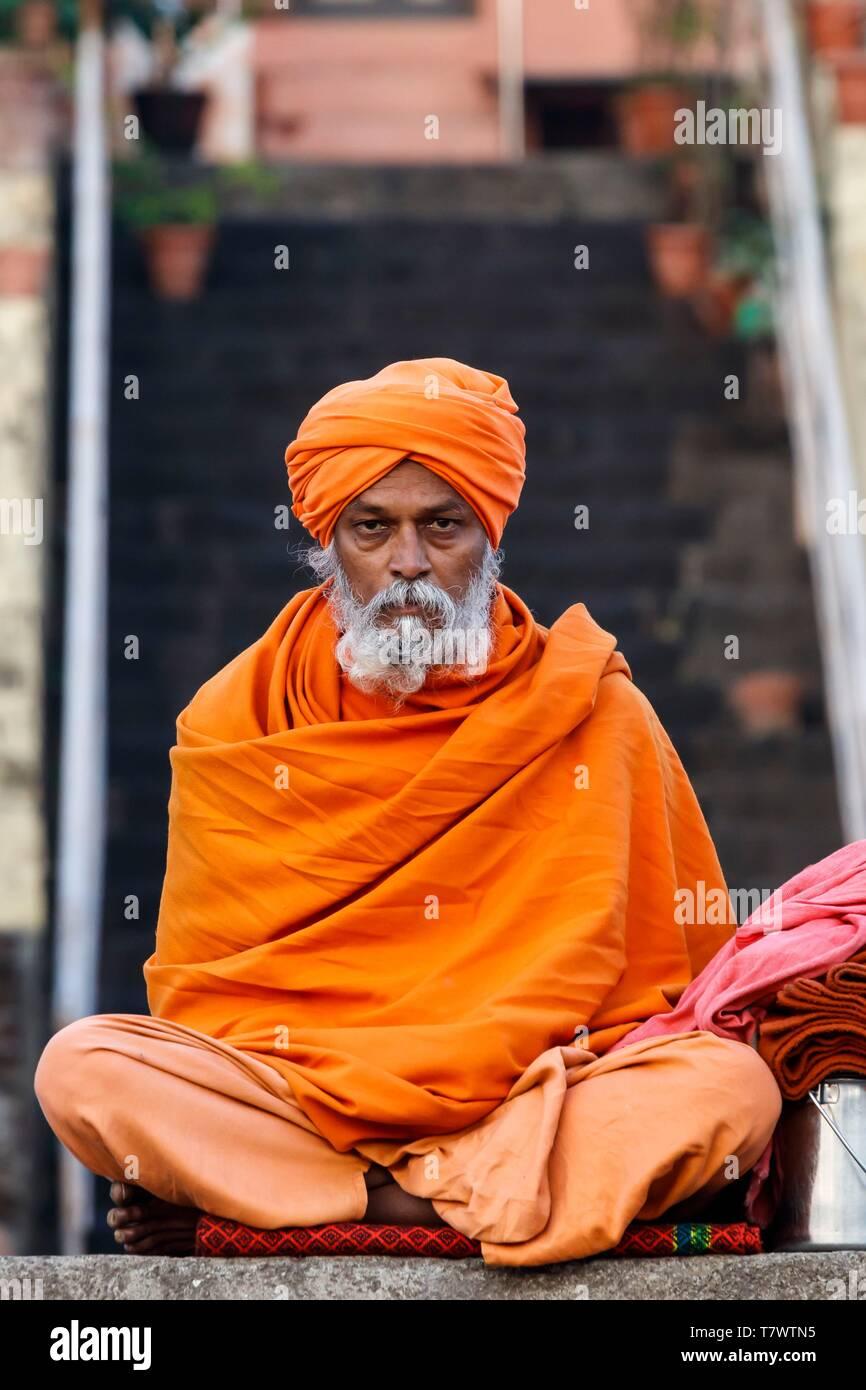 India, Maharashtra, Nashik, sadhu - Stock Image