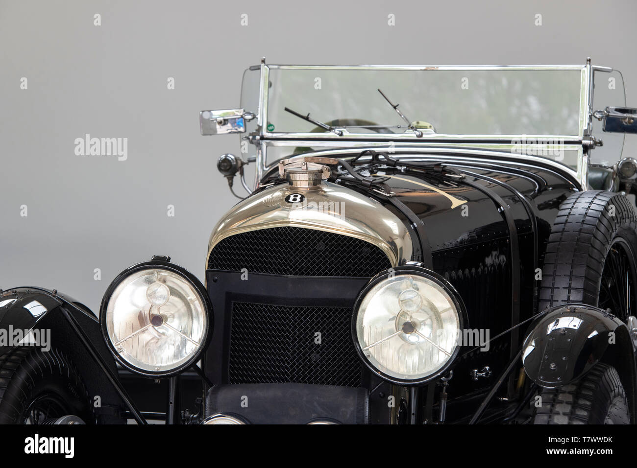 Vintage Bentley car in a showroom at Bicester Heritage Centre 'Drive It Day'. Bicester, Oxfordshire, England - Stock Image
