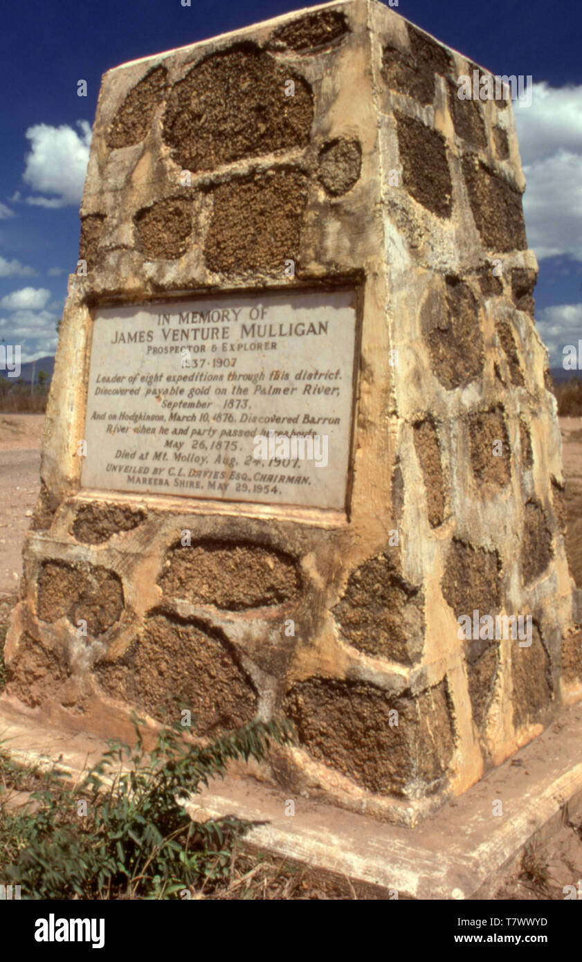 MONUMENT TO JAMES VENTURE MULLIGAN, PROSPECTOR AND EXPLORER DISCOVERED GOLD ON THE PALMER RIVER, ATHERTON, QUEENSLAND, AUSTRALIA. - Stock Image