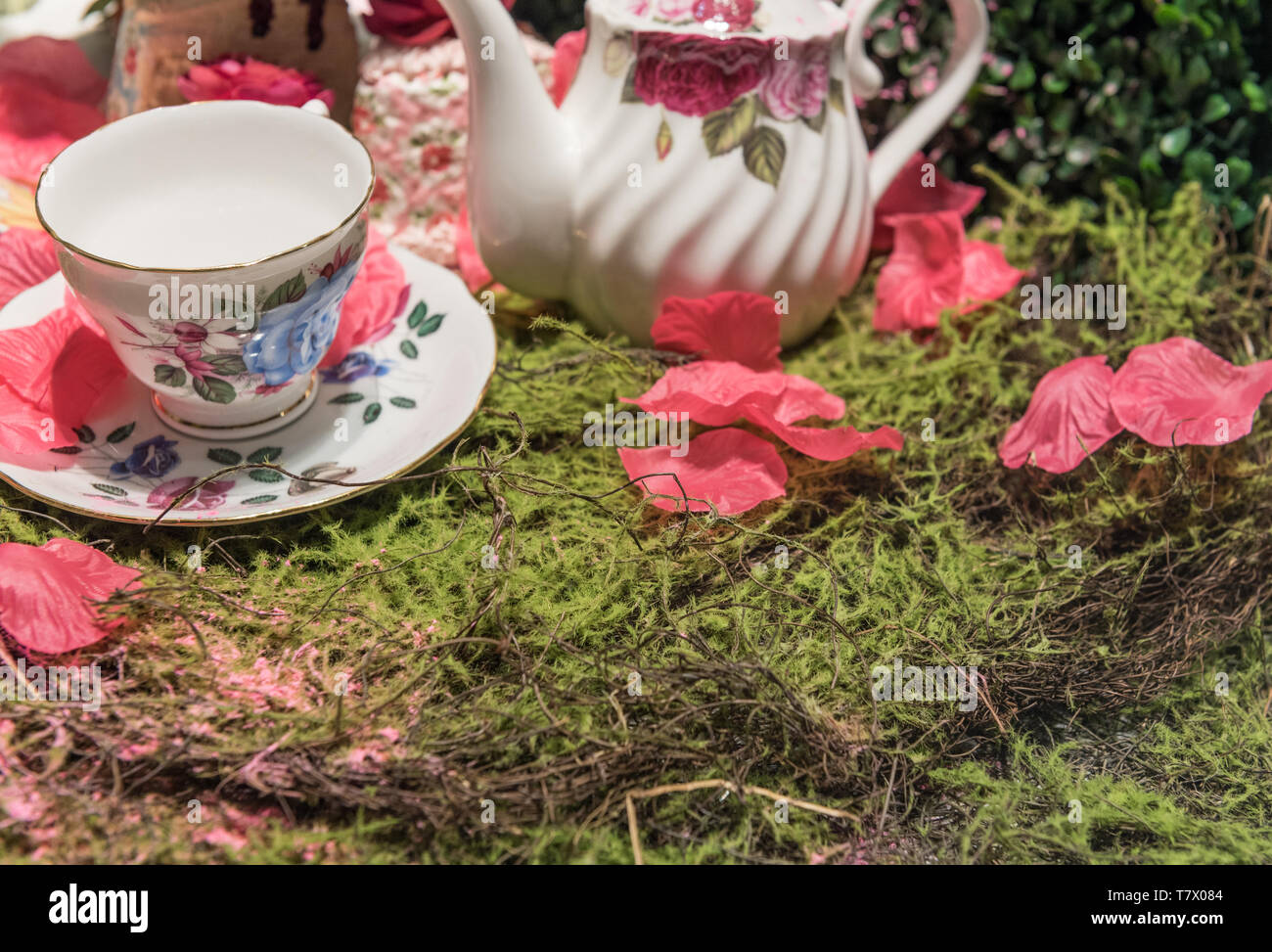 Luxurious Cream Tea Picnic Party Scene with Flower Petals and Old Fashioned Porcelin Tea Set - Stock Image