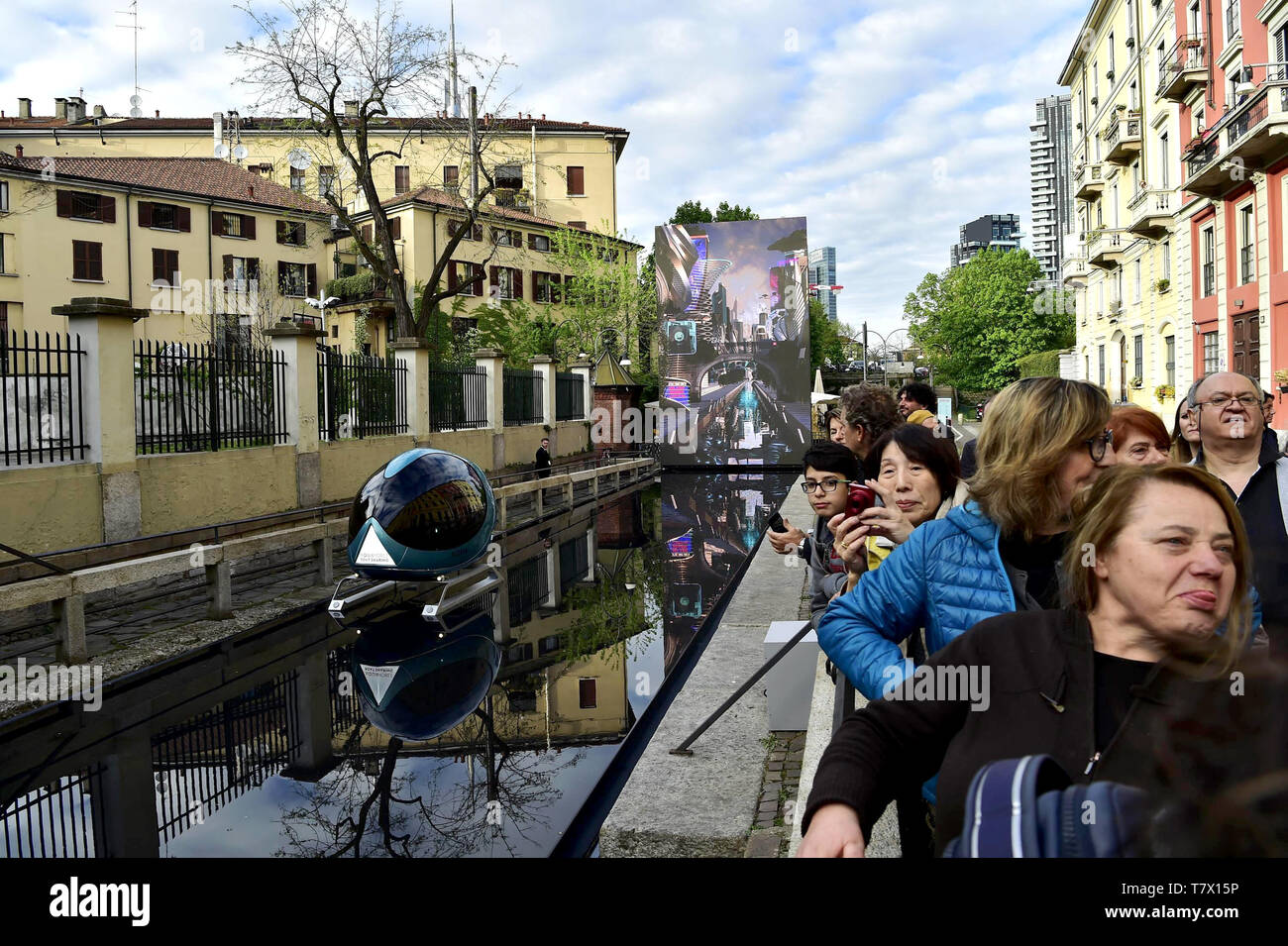 Inauguration of the Water Installation by Martin Balich, dedicated to Leonardo Da Vinci, for the Fuori Salone del Mobile 2019 in the Conca del Incoronata of Via San Marco, in Milan, Italy.  Featuring: atmosphere Where: Milan, Lombardy, Italy When: 05 Apr 2019 Credit: IPA/WENN.com  **Only available for publication in UK, USA, Germany, Austria, Switzerland** - Stock Image