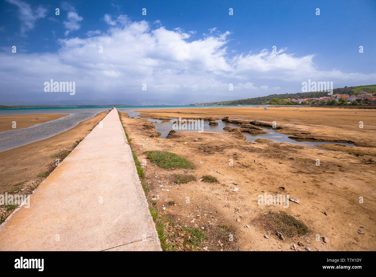 Healthy mud beach in Cizici Soline on Krk island, Kvarner bay of Croatia - Stock Image