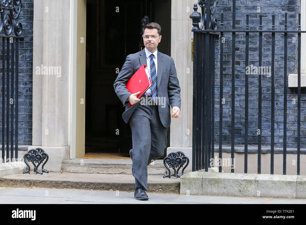 Communities Secretary James Brokenshire seen in Downing Street. On 14 June 2017, a fire broke out in the 24-storey Grenfell Tower block of flats in North Kensington, West London where 72 people died, more than 70 others were injured and 223 people escaped. The UK Government is to fund an estimated £200 million to replacement of unsafe Grenfell style cladding on around 170 high-rise private residential buildings after private building owners failed to take action. Communities Secretary James Brokenshire said inaction from building owners had compelled the government to act. - Stock Image