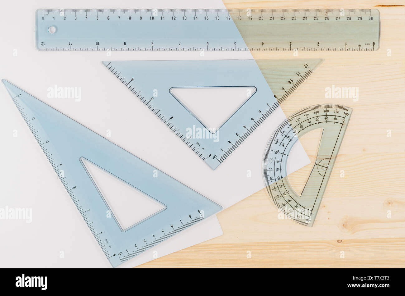Ruler Combo Set. Ruler, Protractor, Triangle, Top View, Close Up - Stock Image