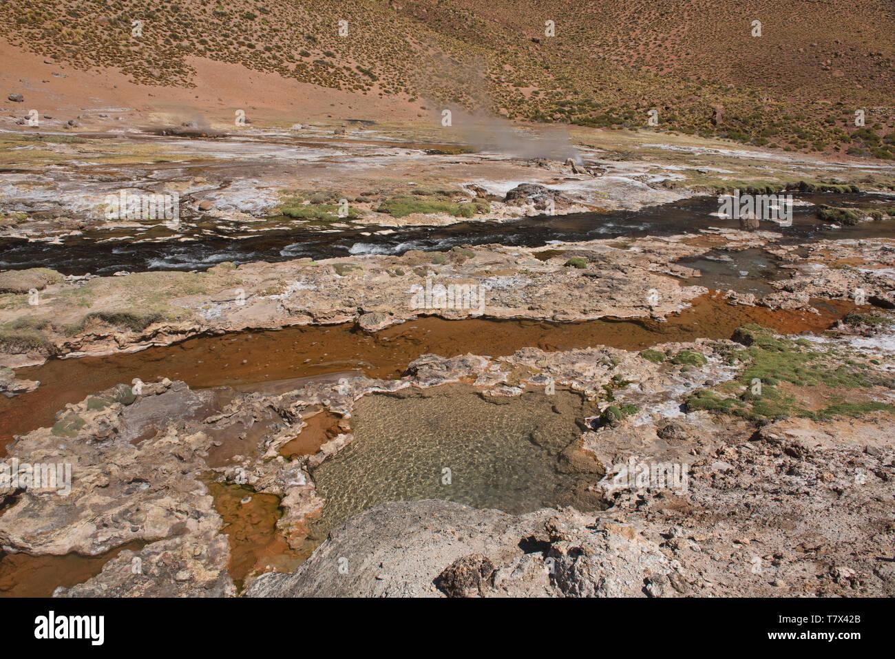 The thermal boiling Rio Blanco river near El Tatio Geyser, San Pedro de Atacama, Chile Stock Photo