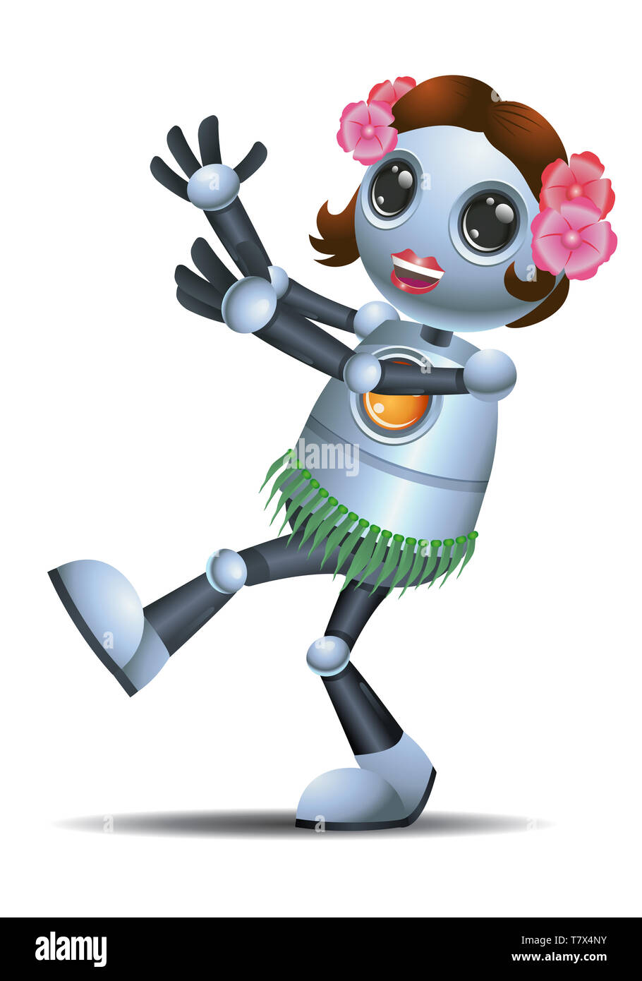illustration of a little robot dance wearing hula skirt on isolated white background - Stock Image