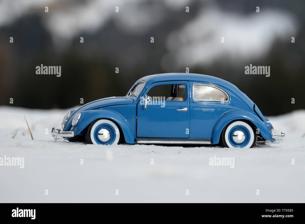 BLUE OLDTIMER & WHITE SNOW - Stock Image