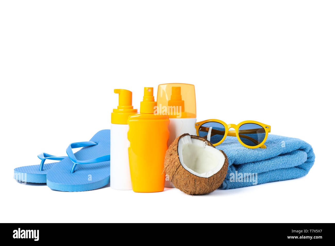Summer vacation accessories isolated on white background. Happy holidays - Stock Image