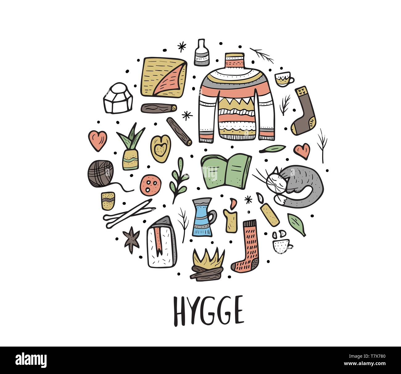 Vector circle composition of Hygge sings. Vector isolated symbols of comfort. Round badge of warm clothes and cozy home things. - Stock Vector