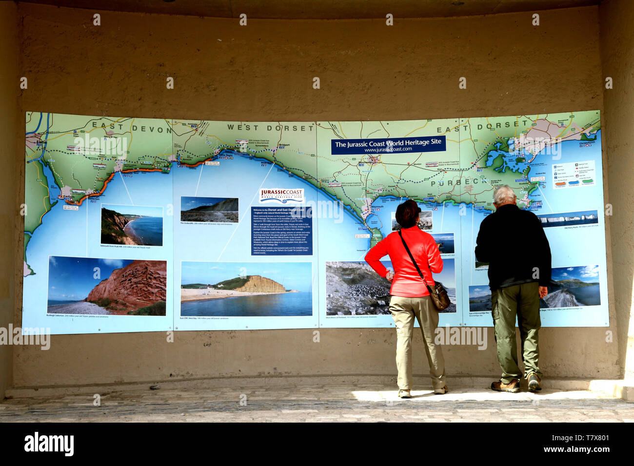 Lyme Regis, Dorset - Elderly tourists viewing The Jurassic Coast World Heritage Site map, 2019 - Stock Image