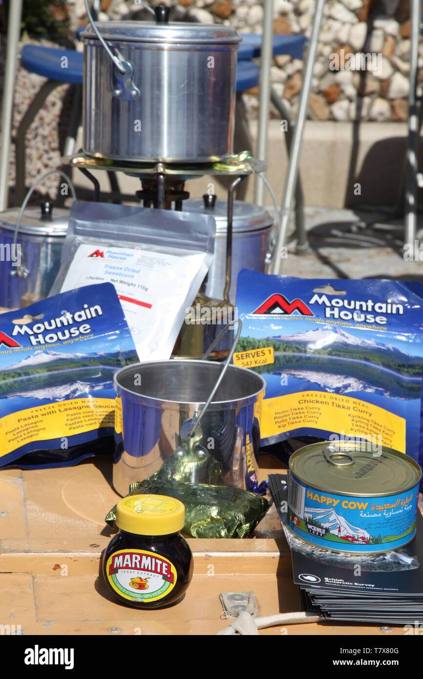 Essential high energy, freeze dried food pack as used by research and expedition teams, including Marmite - Stock Image