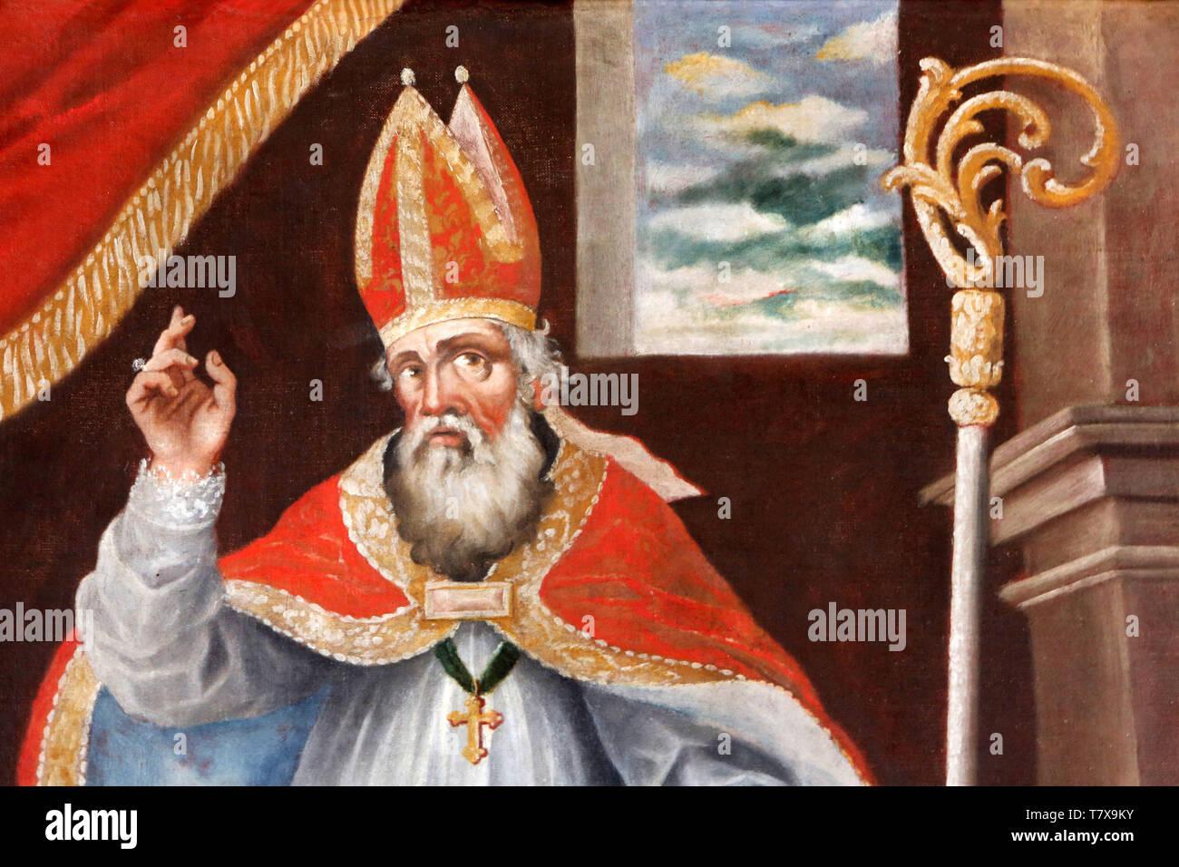 Peinture représentant Saint-Martin, Evêque de Tours. Eglise Saint-Nicolas de Véroce. Saint-Nicolas de Véroce. - Stock Image