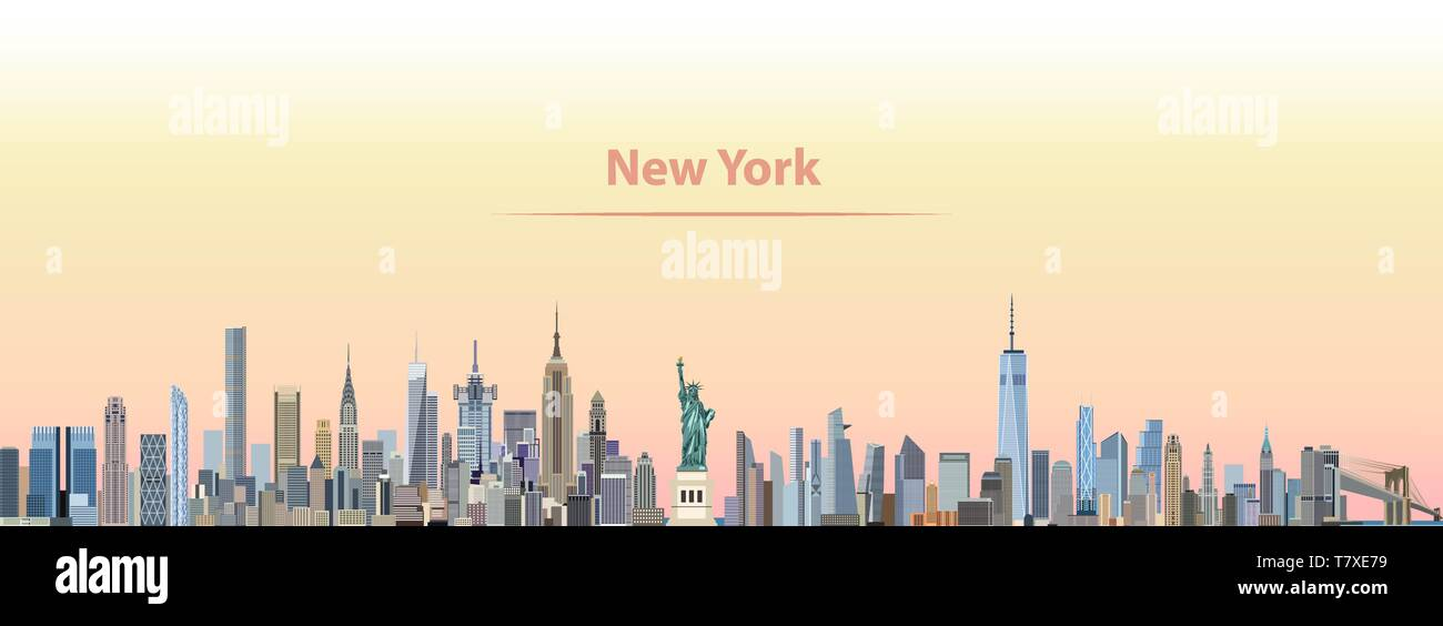 Vector illustration of New York city skyline on colorful gradient beautiful day sky background with flag of United States - Stock Vector