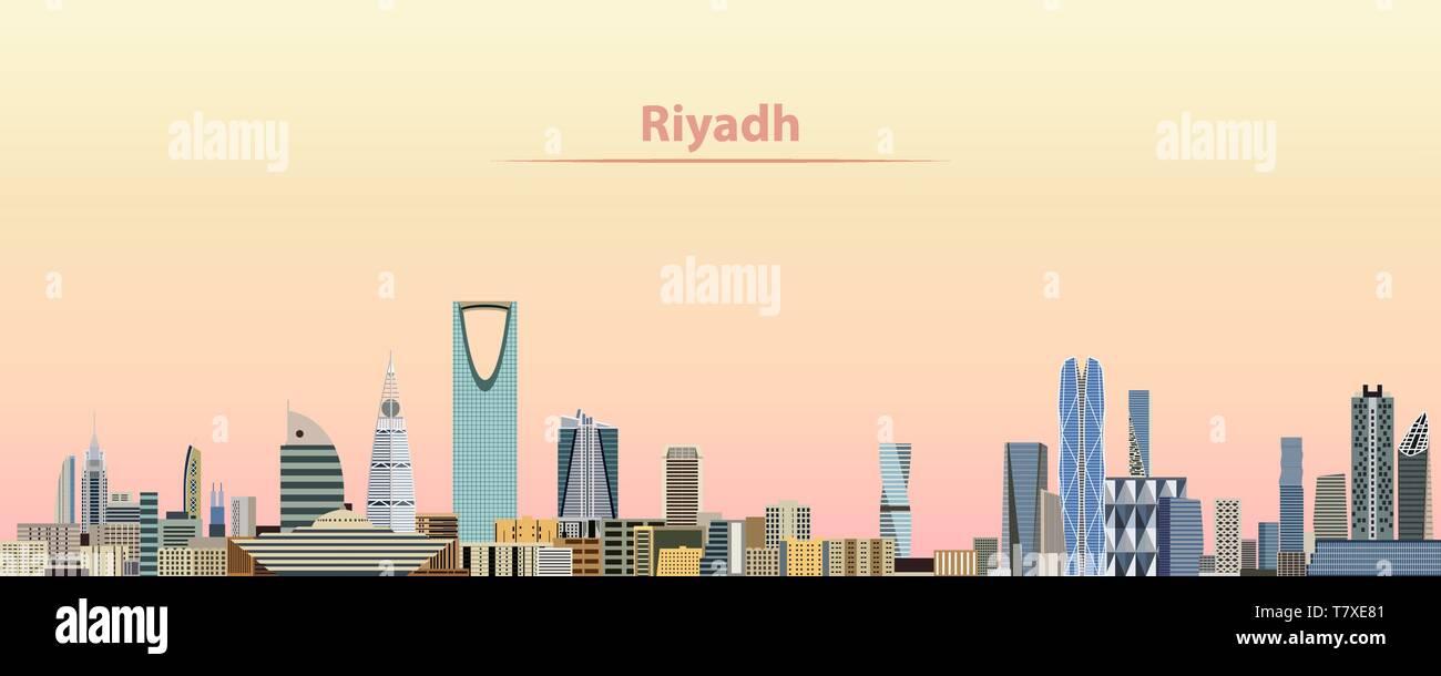 Illustration of Doha City Skyline at Sunrise Fridge Magnet