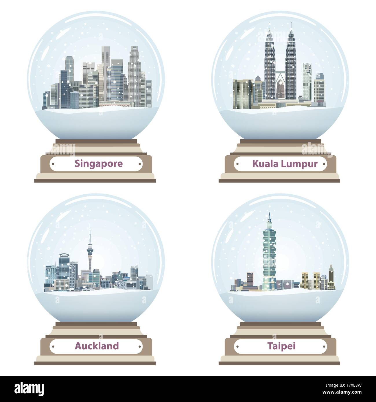 vector collection of snow globes with Singapore, Kuala Lumpur, Auckland and Taipei city skylines - Stock Image