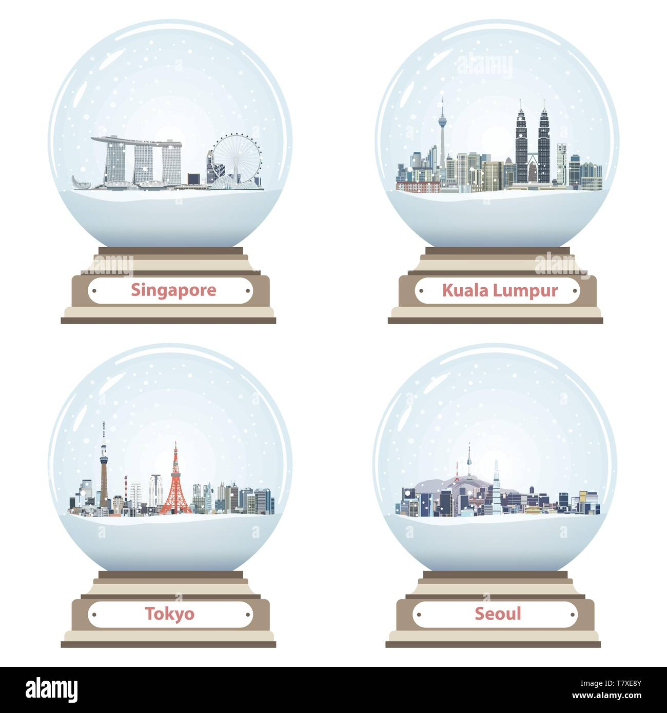 collection of snow globes with Singapore, Kuala Lumpur, Tokyo and Seoul city skylines - Stock Image