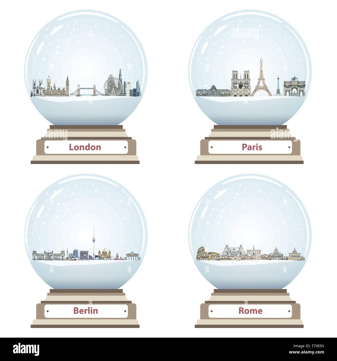 vector snow globes with London, Paris, Berlin and Rome landmarks inside - Stock Image