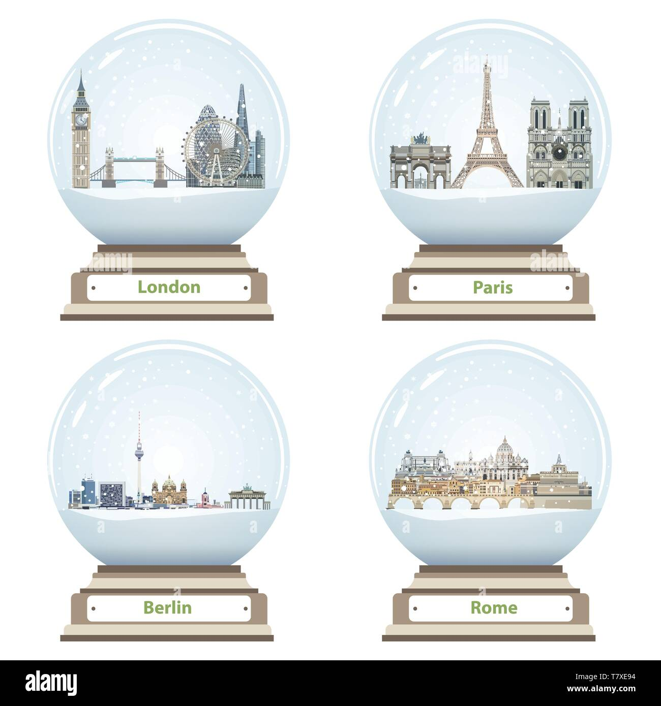 vector snow globes with London, Paris, Berlin and Rome city skylines inside - Stock Image