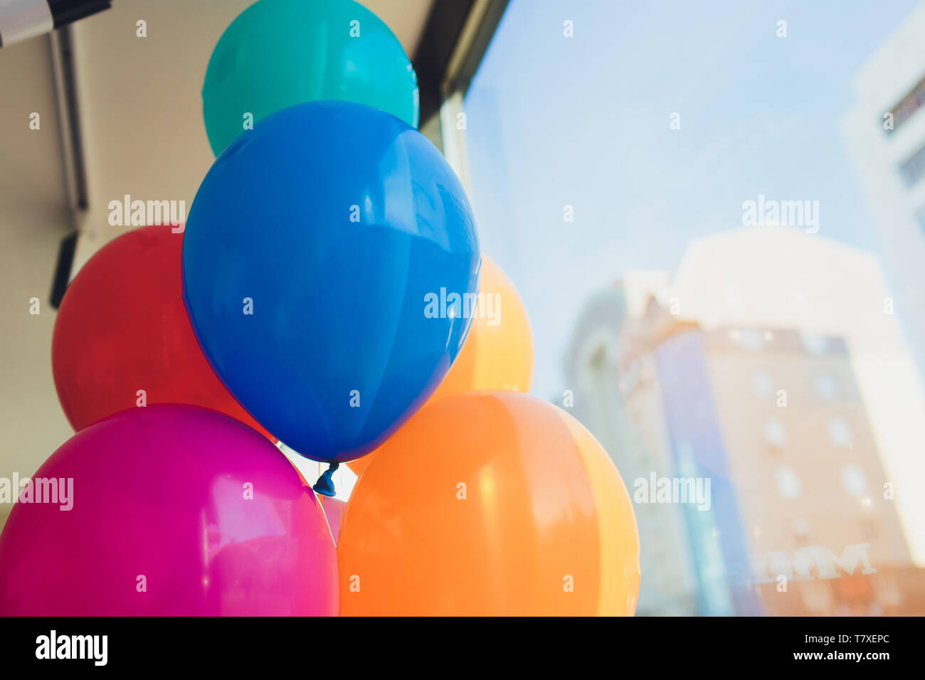 Abstract blurred party decoration with balloon, entertainment lifestyle concept - Stock Image
