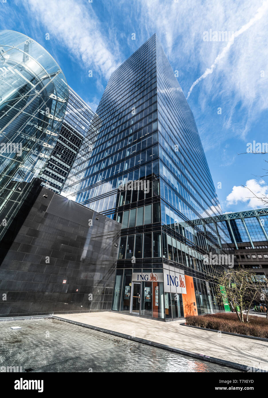 Brussels, Belgium - 03 10 2019: An ING banking agency in the financial North district next to the North Galaxy tower - Stock Image