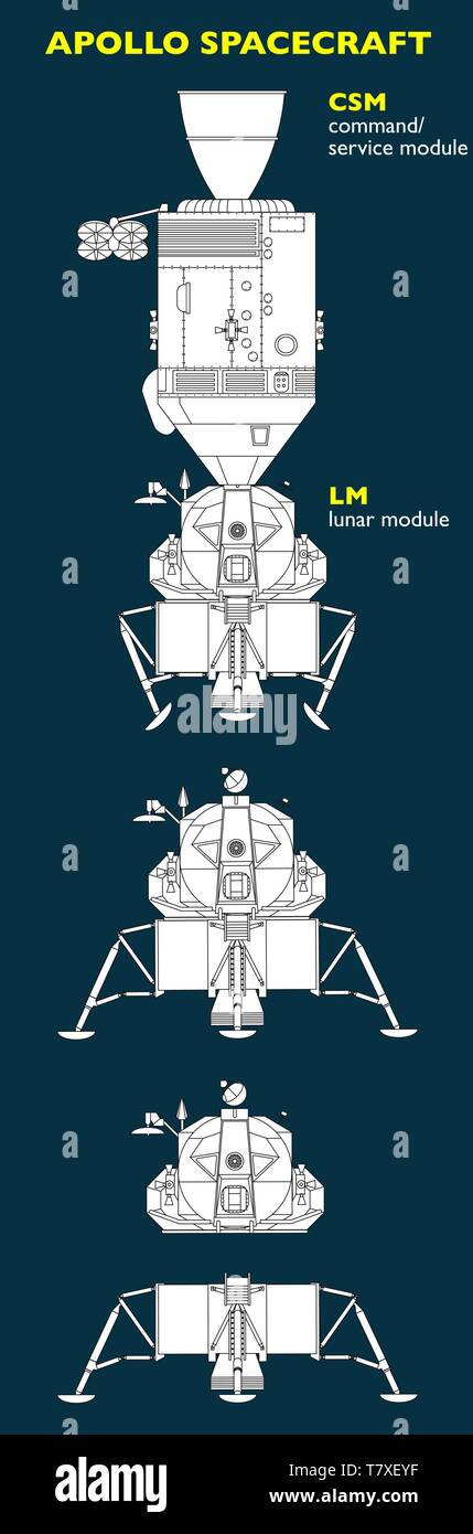 The Apollo spacecraft was designed to take man to the Moon. Spacecraft consisted of a combined command and service module CSM and a lunar module LM - Stock Vector