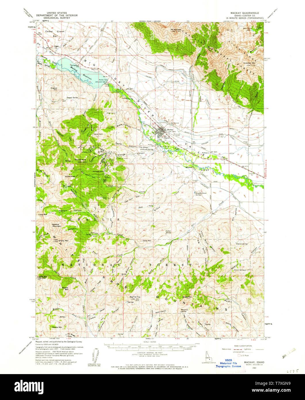 USGS TOPO Map Idaho ID Mackay 239171 1960 62500 Restoration ...