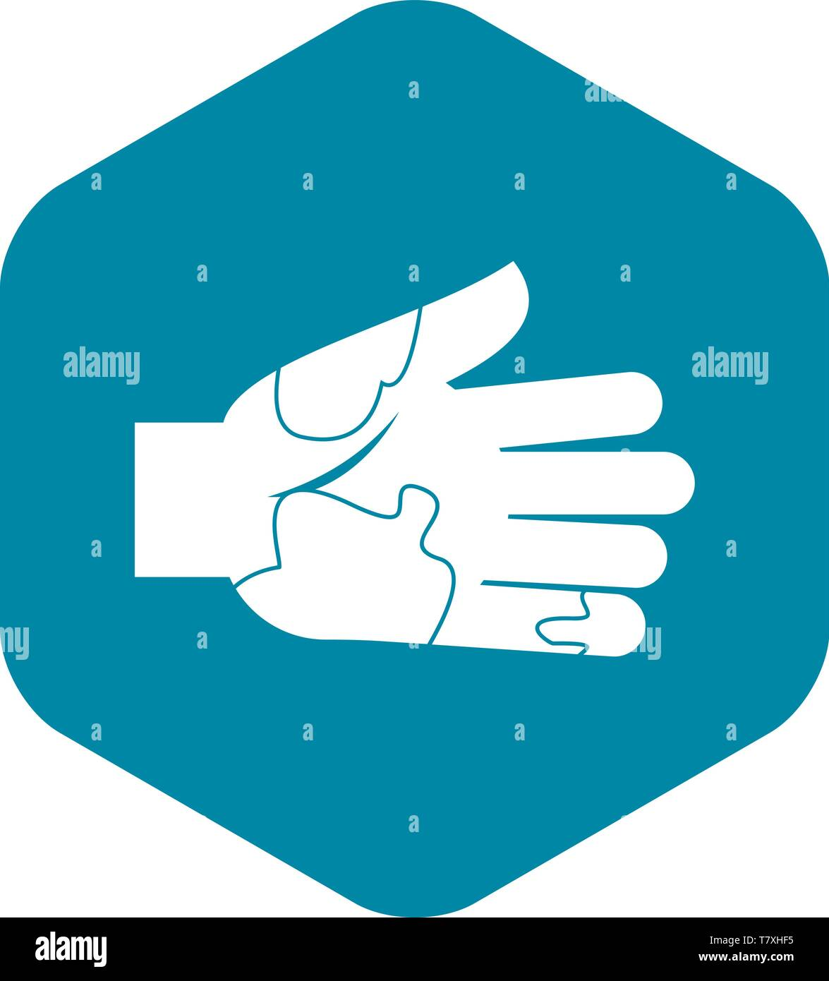 Hand with stains icon, simple style - Stock Image