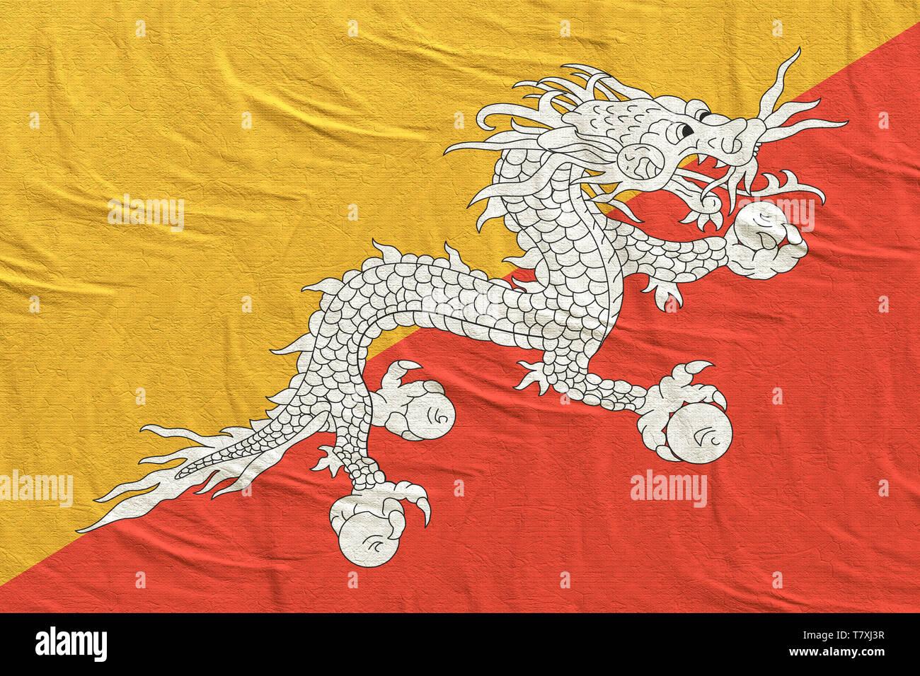 3d rendering of a Bhutan flag silk - Stock Image