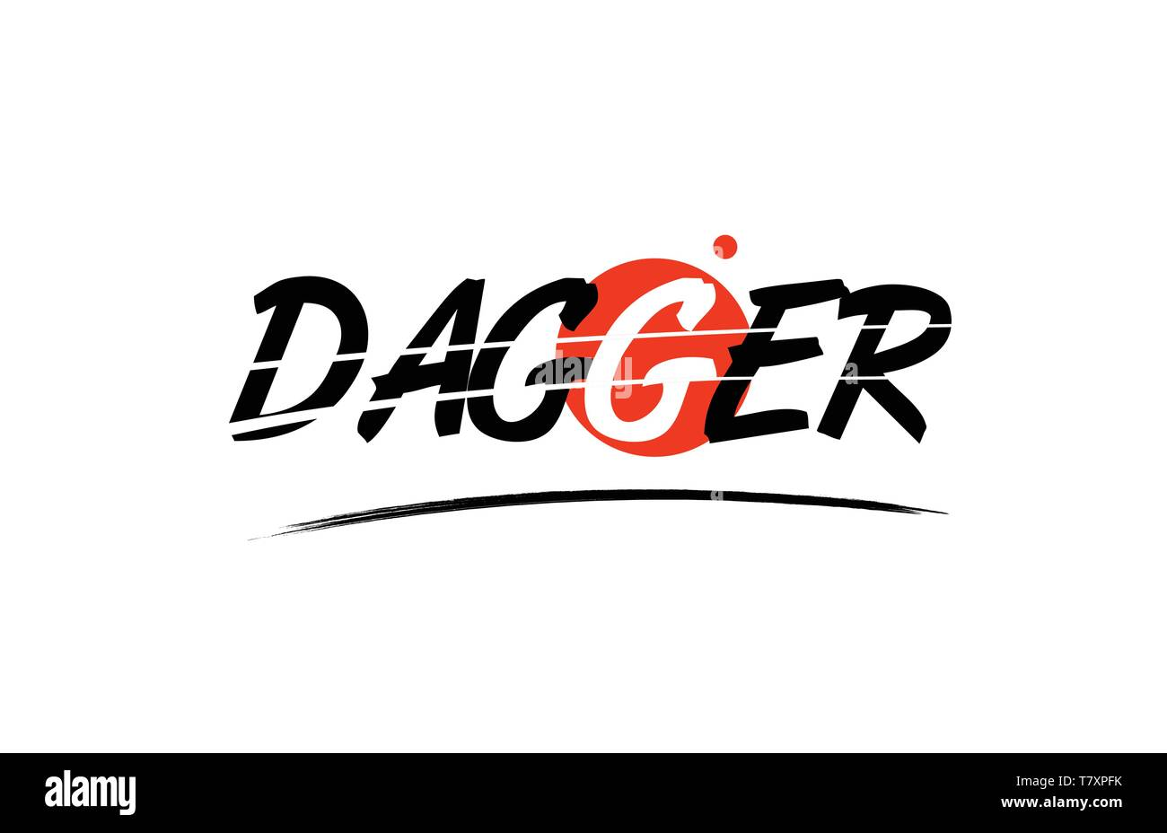 dagger text word on white background with red circle suitable for card icon or typography logo design - Stock Vector