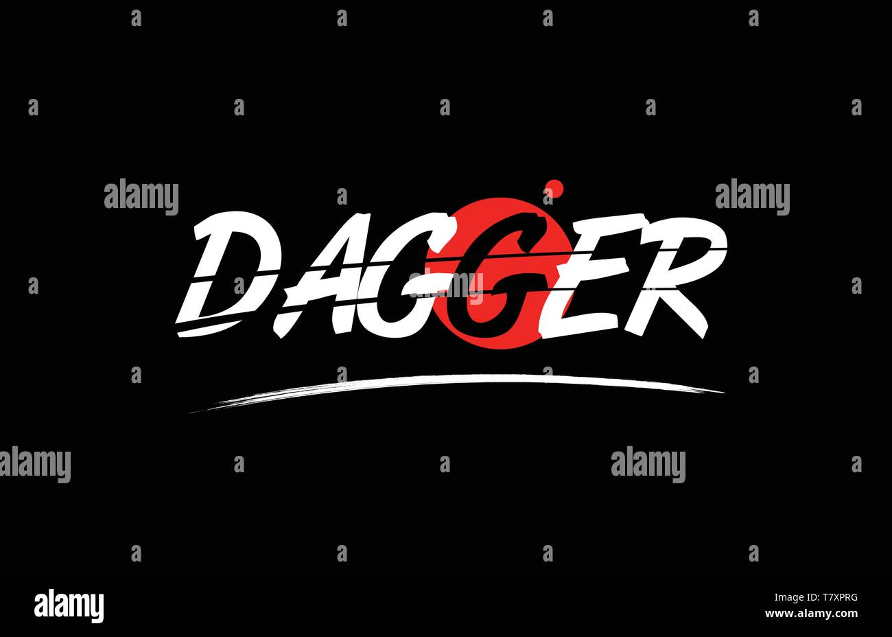 dagger text word on black background with red circle suitable for card icon or typography logo design - Stock Vector