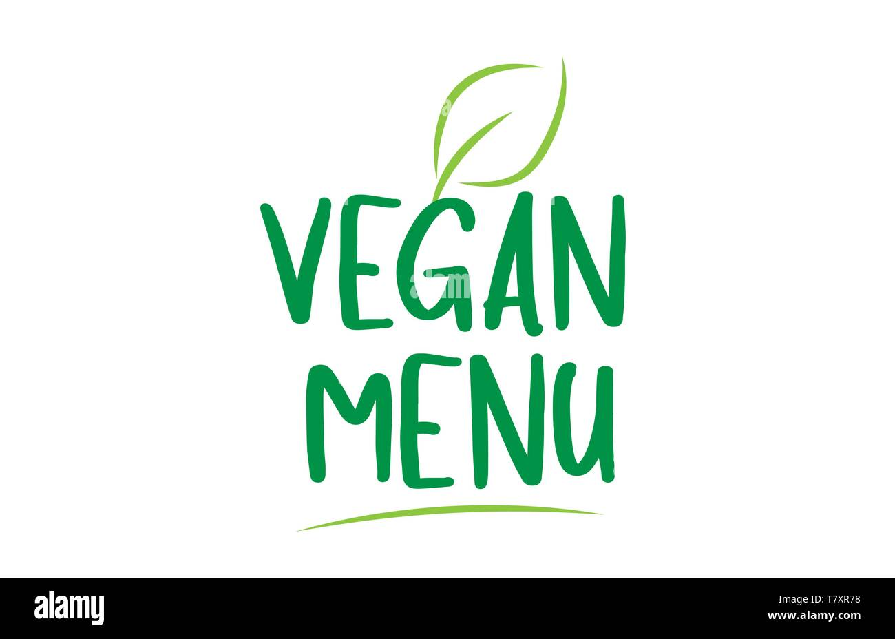 vegan menu green word text with leaf suitable for icon, badge or