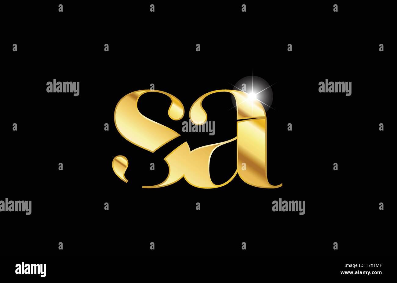 gold golden metal metallic alphabet letter sa s a logo icon design for a company or business - Stock Vector