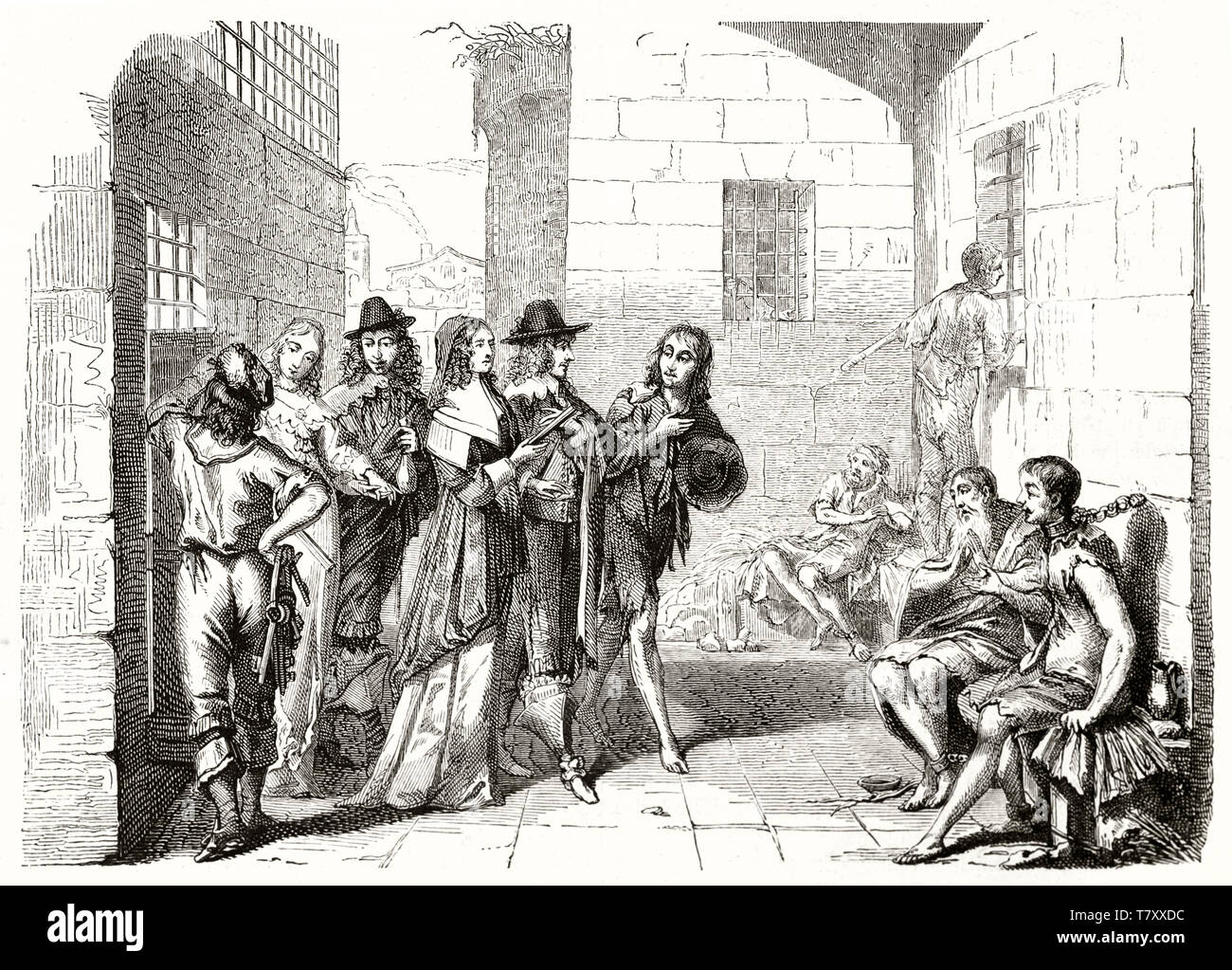 Old illustration depicting prison interior in 17th century. By Bosse, publ. on Magasin Pittoresque, Paris, 1848 - Stock Image