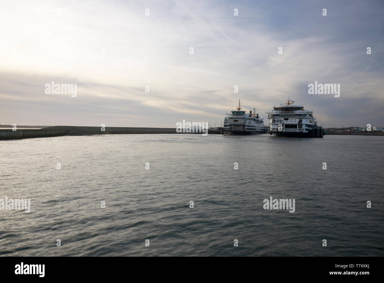 Beautiful wide shot of two ferry ships crossing the water - Stock Image
