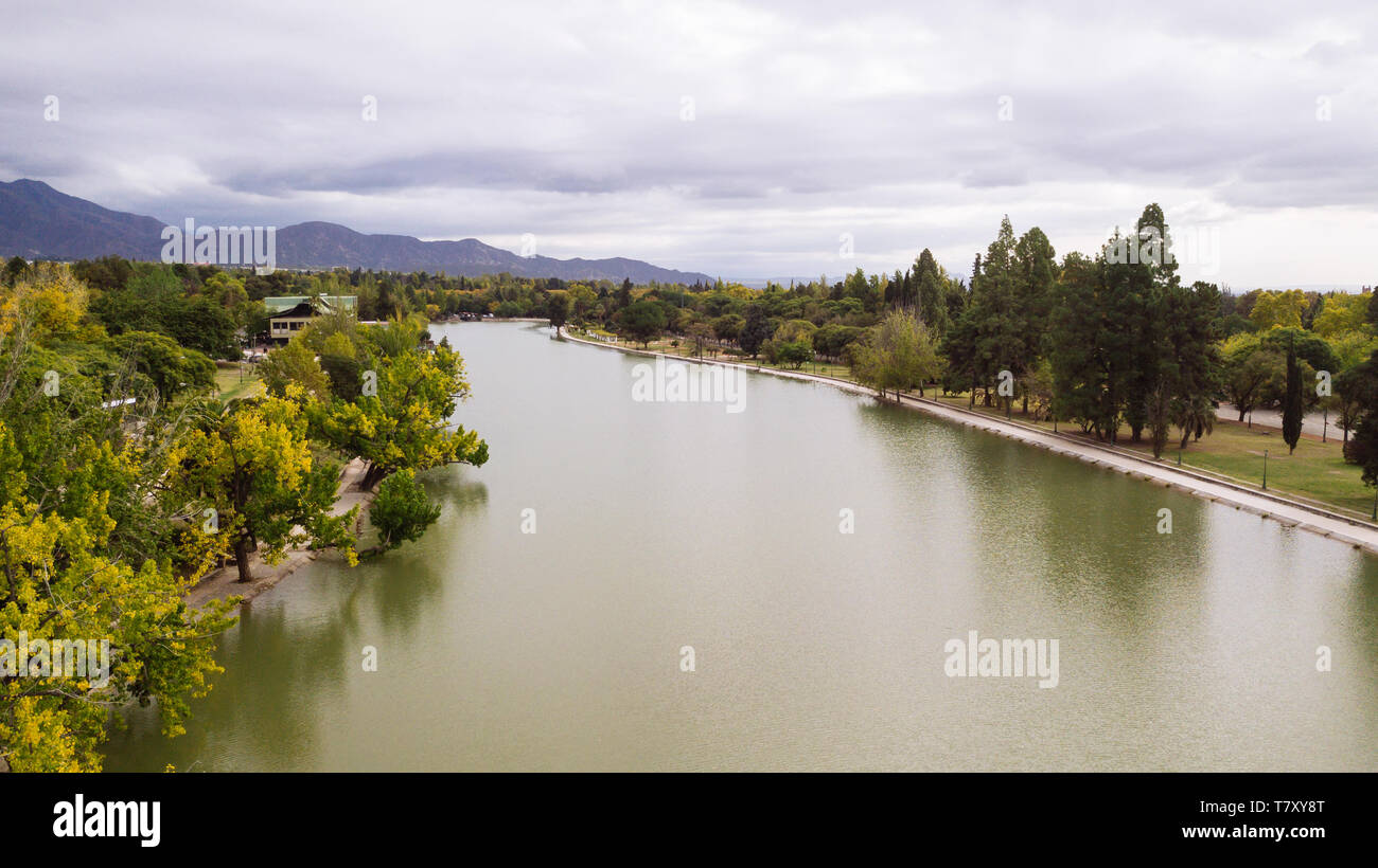 Drone aerial view of Parque San Martin Park lake in Mendoza, Argentina - Stock Image