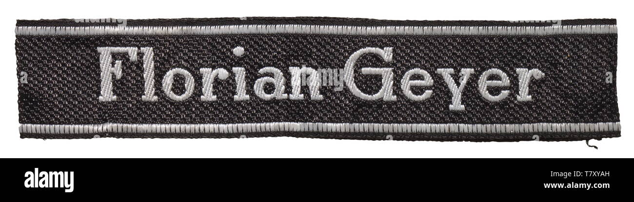 """A sleeveband """"Florian Geyer"""" for enlisted men/NCOs from the 8th SS-Kavallerie-Division. Black and silver-grey woven BeVo type with sewn ends and woven maker's name """"BEVO-WUPPERTAL"""". Unissued, slightly faded. Length 49 cm. historic, historical, 20th century, 1930s, 1940s, secret service, security service, secret services, security services, police, armed service, armed services, NS, National Socialism, Nazism, Third Reich, German Reich, Germany, utensil, piece of equipment, utensils, object, objects, stills, clipping, clippings, cut out, cut-out, cut-outs, fascism, fascistic, Editorial-Use-Only Stock Photo"""