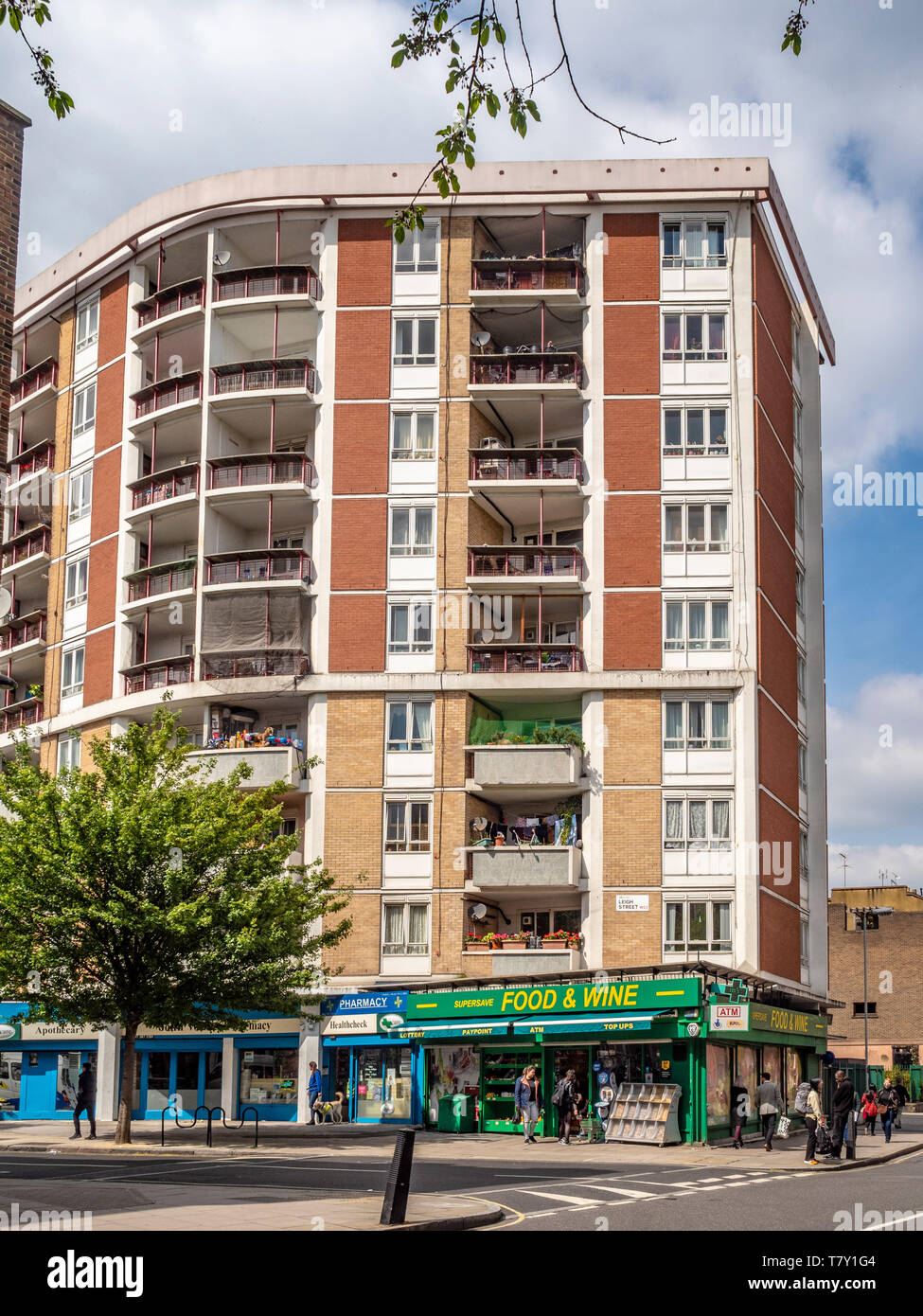 Medway Court Block of flats and convenience store, Bloomsbury, Camden, London, UK. - Stock Image
