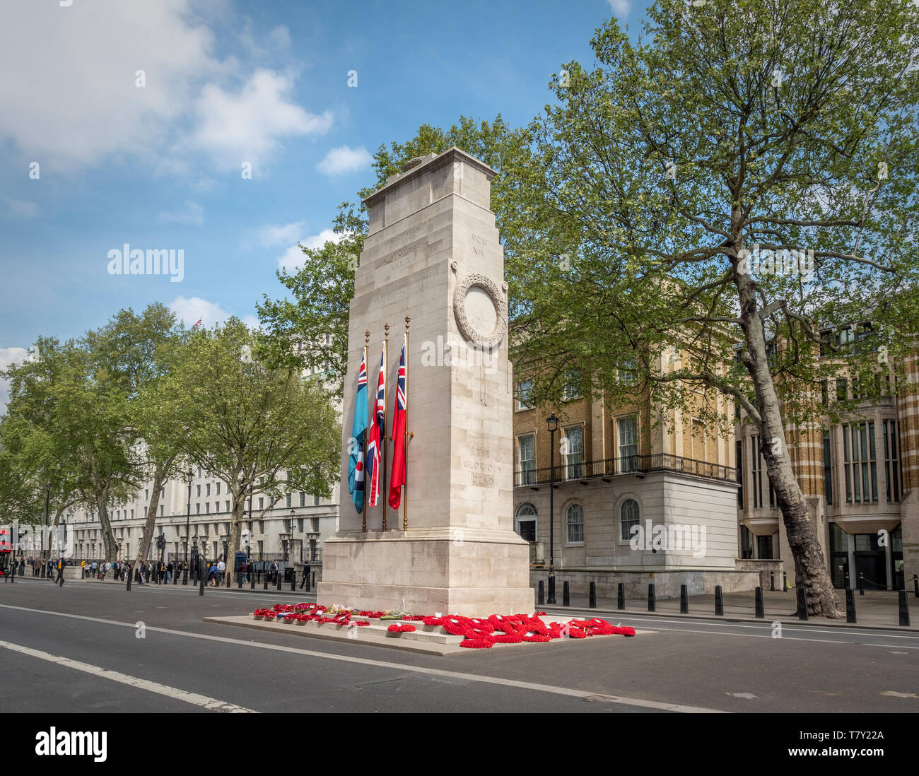 The Cenotaph war memorial designed by  Edwin Lutyens, Whitehall, London, UK. - Stock Image