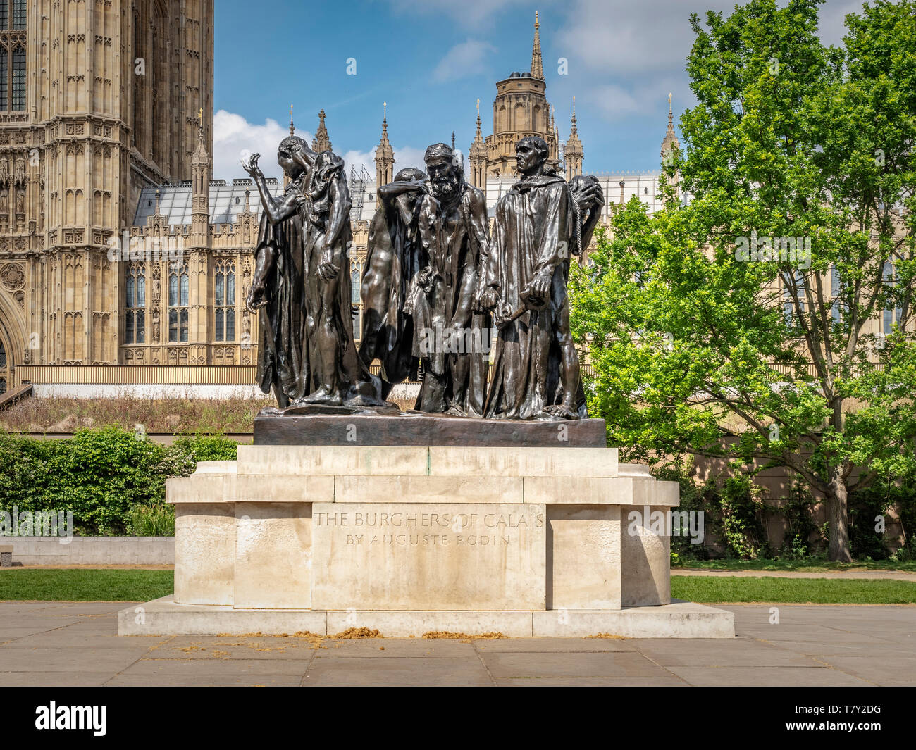 The Burghers of Calais (Les Bourgeois de Calais) bronze sculpture by Auguste Rodin 1889, Victoria Tower Gardens, London, UK.  Cast 1908, installed on  - Stock Image