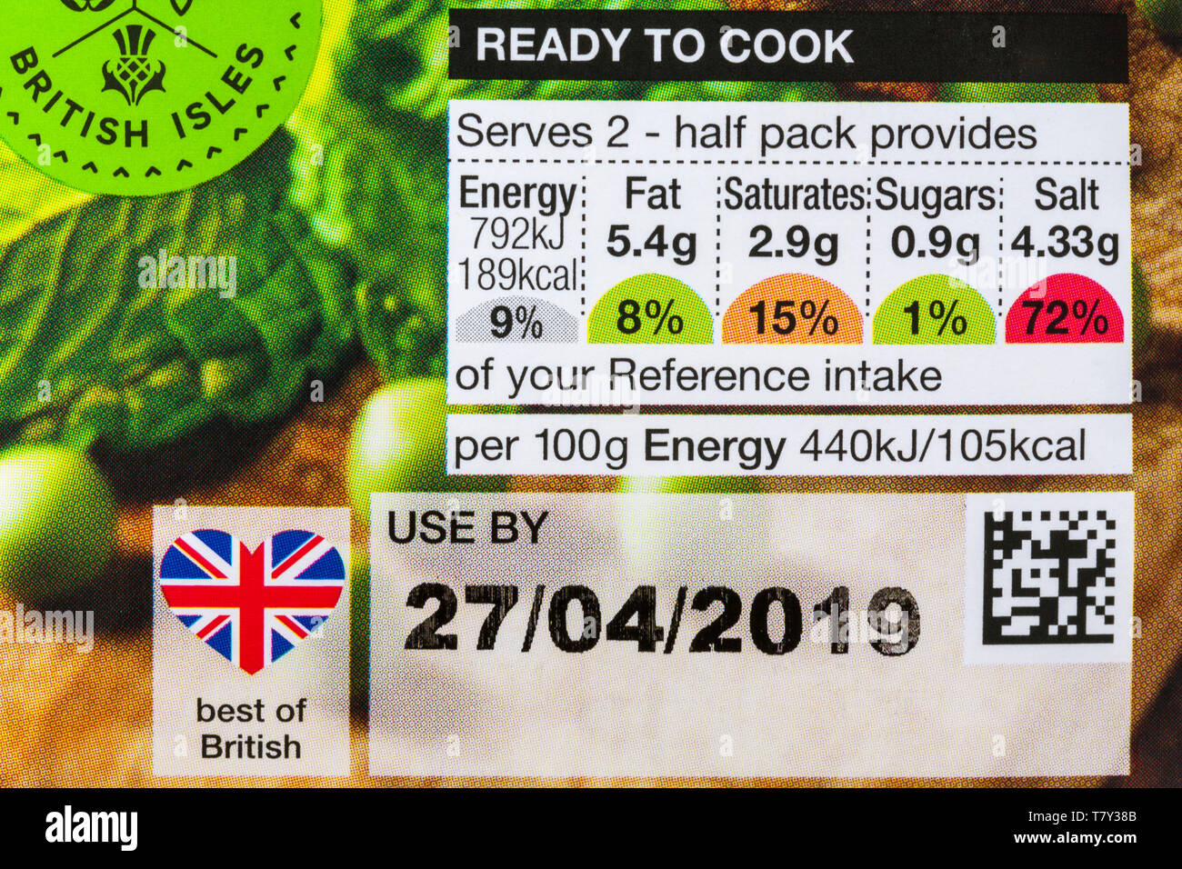 Reference intake nutritional information traffic light system labelling on food packaging - Stock Image