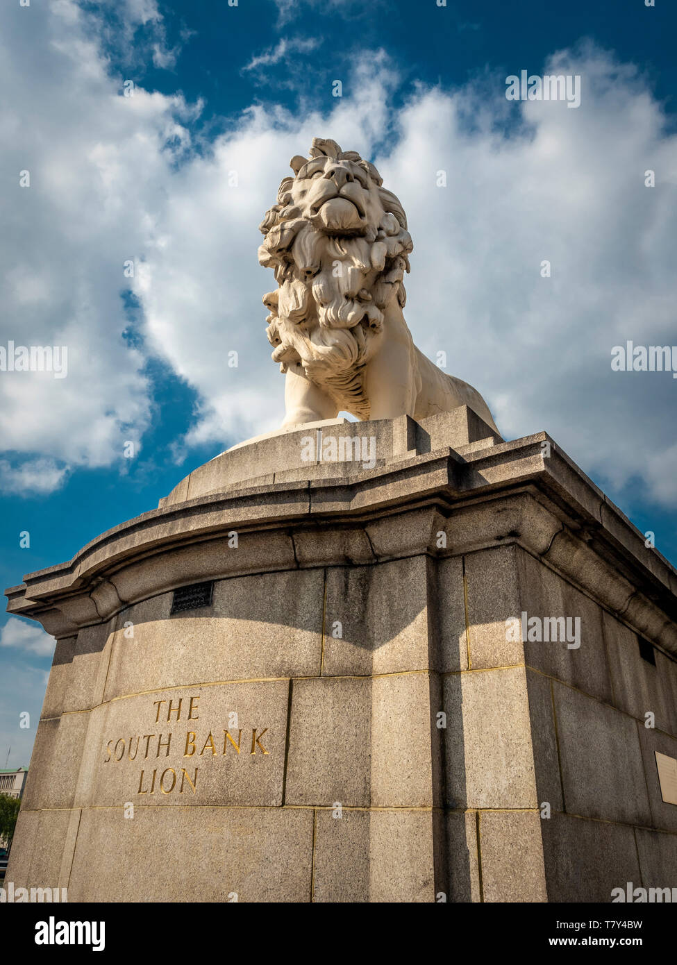The South Bank Lion, (Red Lion), a Coade stone sculpture of a standing male lion cast in 1837 Westminster Bridge, London, UK. Stock Photo