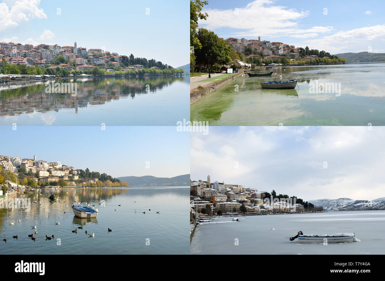 Spring, summer, autumn and winter view of Kastoria  ,a town in  Western Makedonia  of Greece - Stock Image
