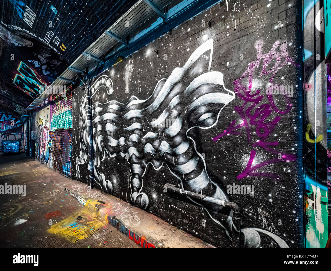 The banksy tunnel leake st tunnel or leake street arches legal graffiti venue under waterloo train station london uk